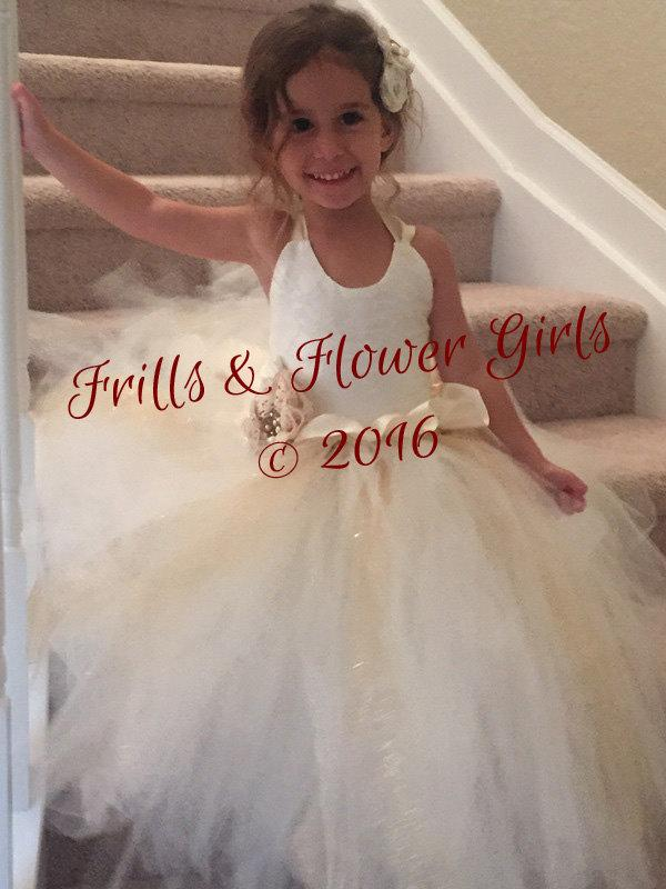 Ivory And Champagne Flower Girl Dress Lace Halter Tutu Dress ...