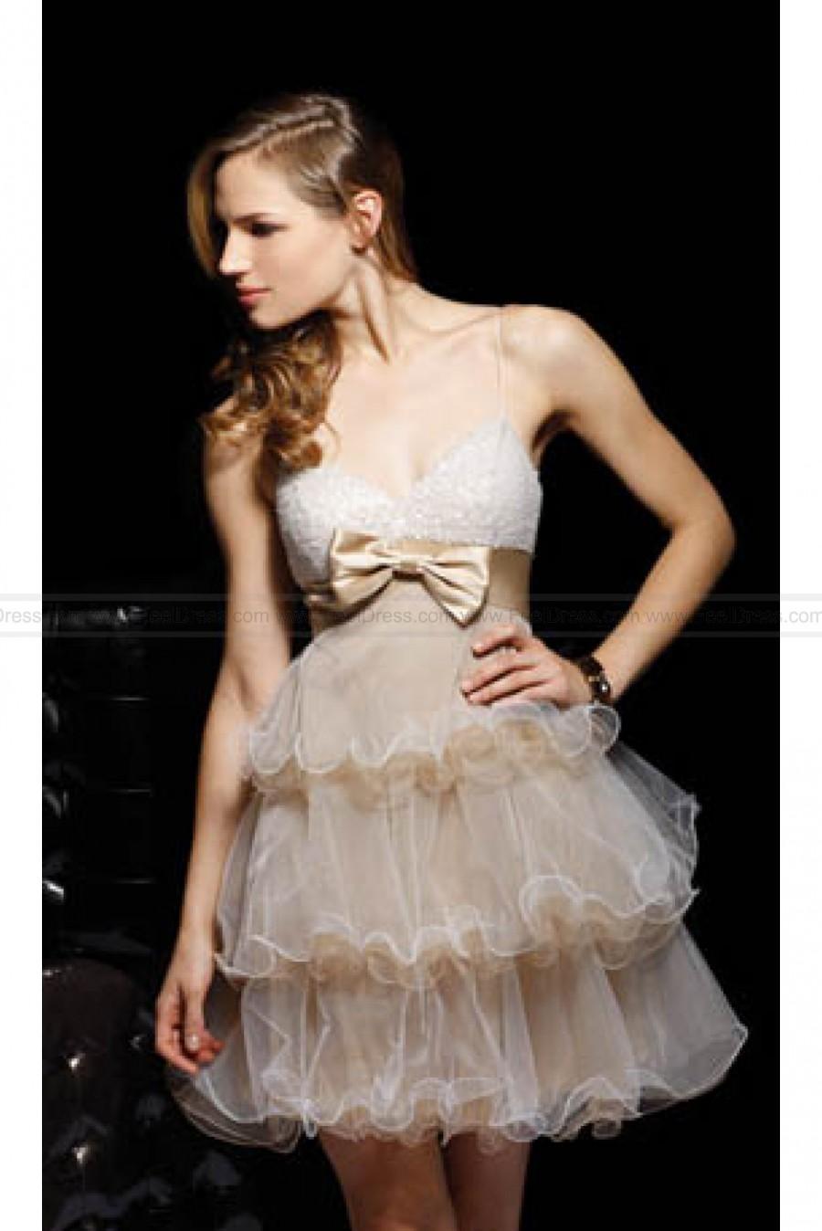 زفاف - Spaghetti Straps Layered Cocktail Dress