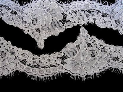 زفاف - Rush for Emily Wedding bridal chantilly alencon corded lace veil trimming scallop ivory 002