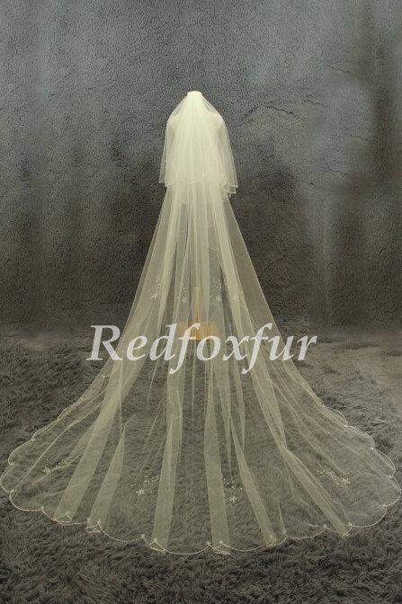 زفاف - 2T Cathedral Veil Ivory Bridal Veil Hand-beaded Veil Crescent edge veil 3m length veil Wedding dress veil Wedding Dress Accessories + Comb
