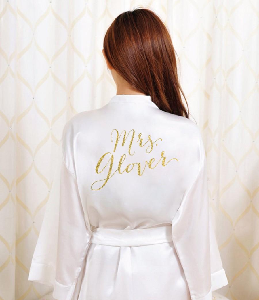 Hochzeit - Gold Glitter Bridal Robe - Bride Bathrobe Satin Cover - Bridal Dressing Robe - Gold Glitter Wedding - Bridal Lingerie Shower Gift