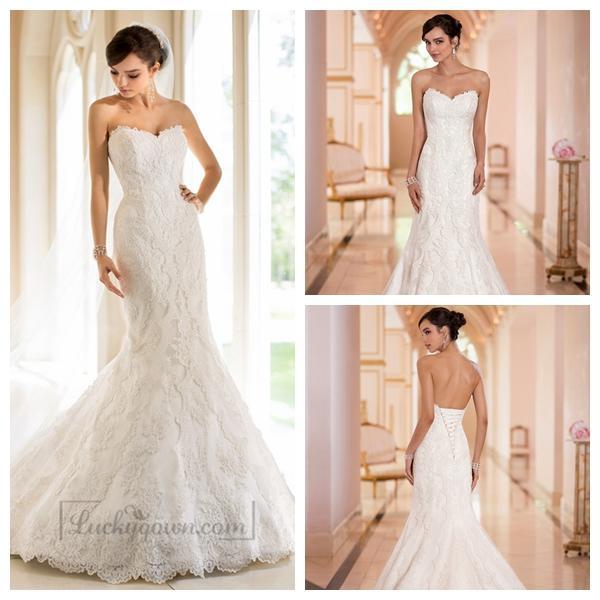 Wedding - Strapless Trumpet Mermaid Sweetheart Lace Wedding Dresses