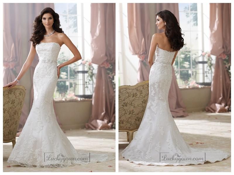 Strapless lace appliques mermaid wedding dresses weddbook