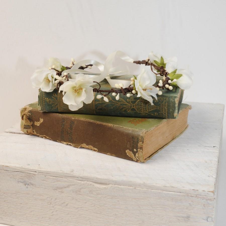 زفاف - Flower Crown Headband, Ivory Wedding Crown, Flower Head Wreath, Floral Wedding Halo, Bridal Hair Wreath. Wedding Hair Piece, Floral Crown