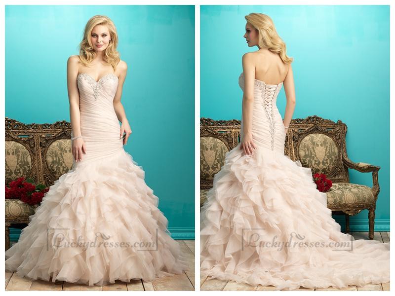 Wedding - Ruffled Pleated Bodice Beaded Sweetheart Wedding Dress with Layers Skirt