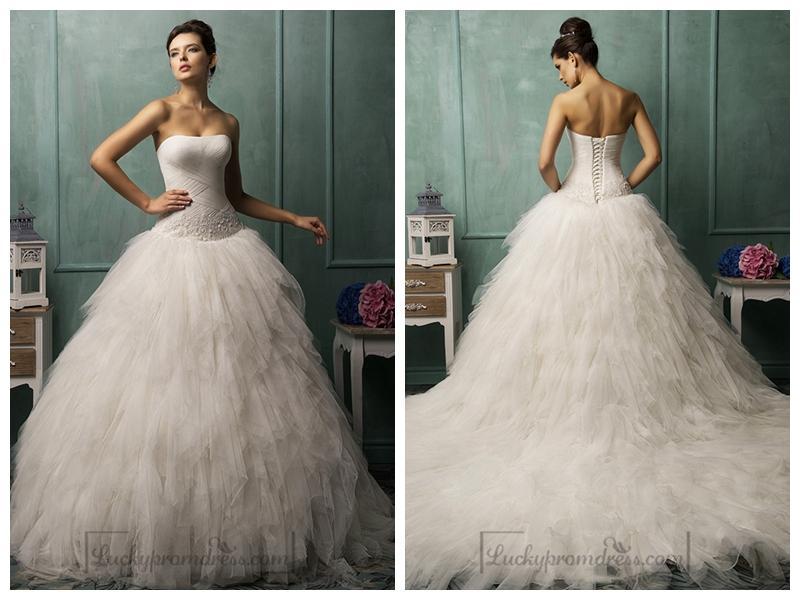 Ruffle Ball Gown Wedding Dress: Strapless Criss-cross Bodice Ruffled Ball Gown Wedding