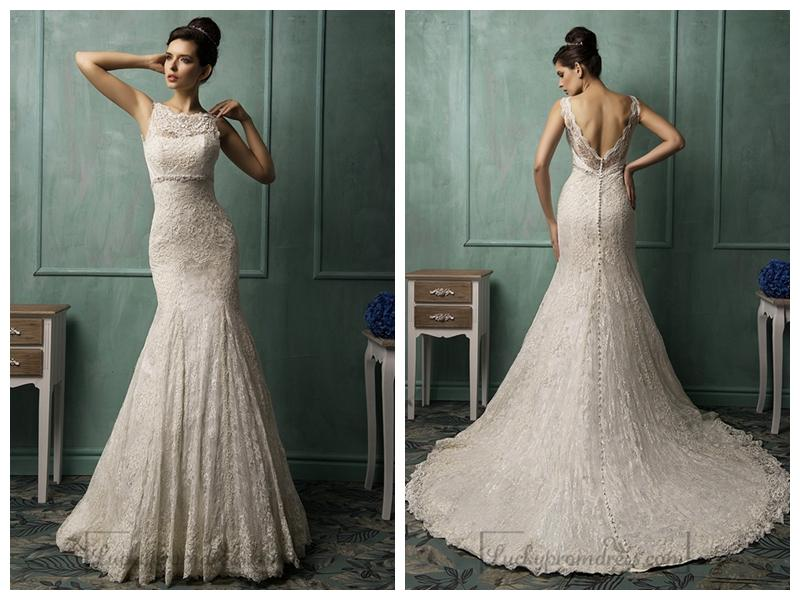 Hochzeit - Bateau Neckline V-back Lace Wedding Dress