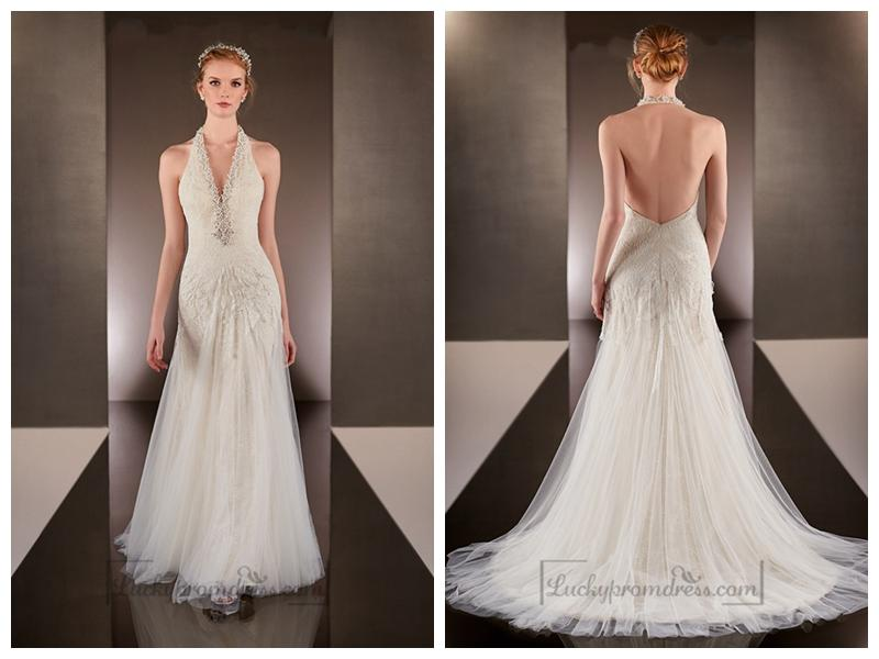 b3e73a25ecb Beaded Helter V-neck Sheath Wedding Dresses With Low Open Back ...
