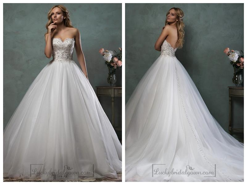 Nozze - Strapless Scallop Sweetheart Beaded Bodice Ball Gown Wedding Dress
