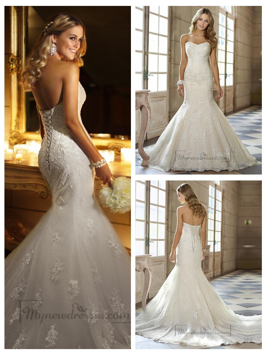 Sweetheart beaded lace appliques fit and flare wedding for Lace fit flare wedding dress