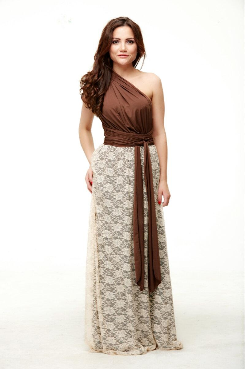Convertible dress chocolate ivory lace vintage style for Lace maxi wedding dress