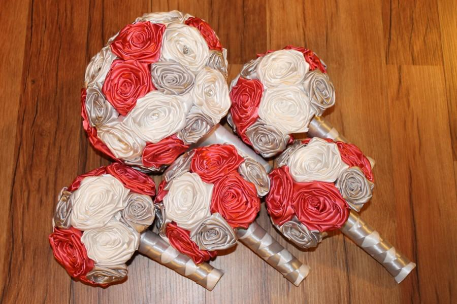 Mariage - Coral, Silver, & White Wedding Bouquet Set, DEPOSIT, Coral and Silver, Coral Wedding Bouquets, Coral Silver Wedding, Coral Fabric Bouquet