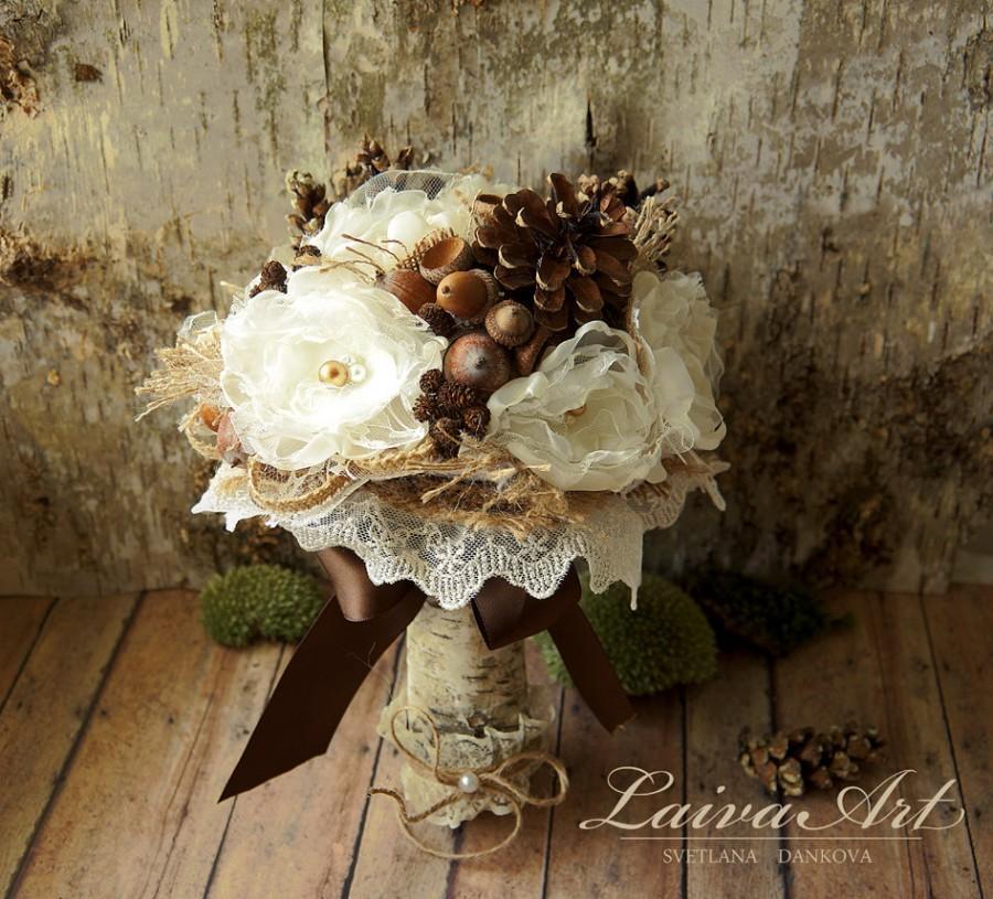 Rustic Wedding Flowers Bouquet Pine Cones Wedding Bouquet Burlap ...