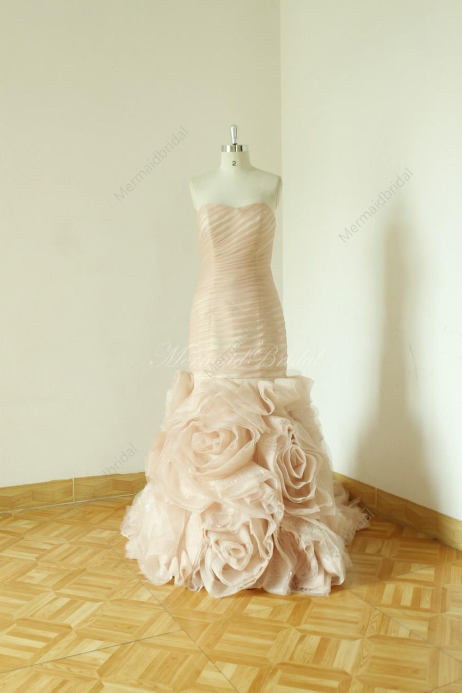 Mariage - Blush fit and flare sequined wedding dress