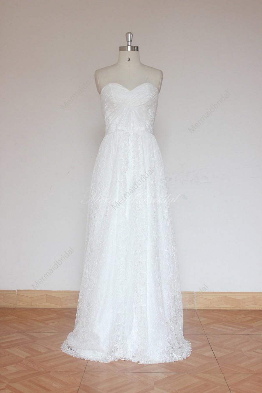 Mariage - Ivory A line destination lace wedding dress, wedding gown with sweep train