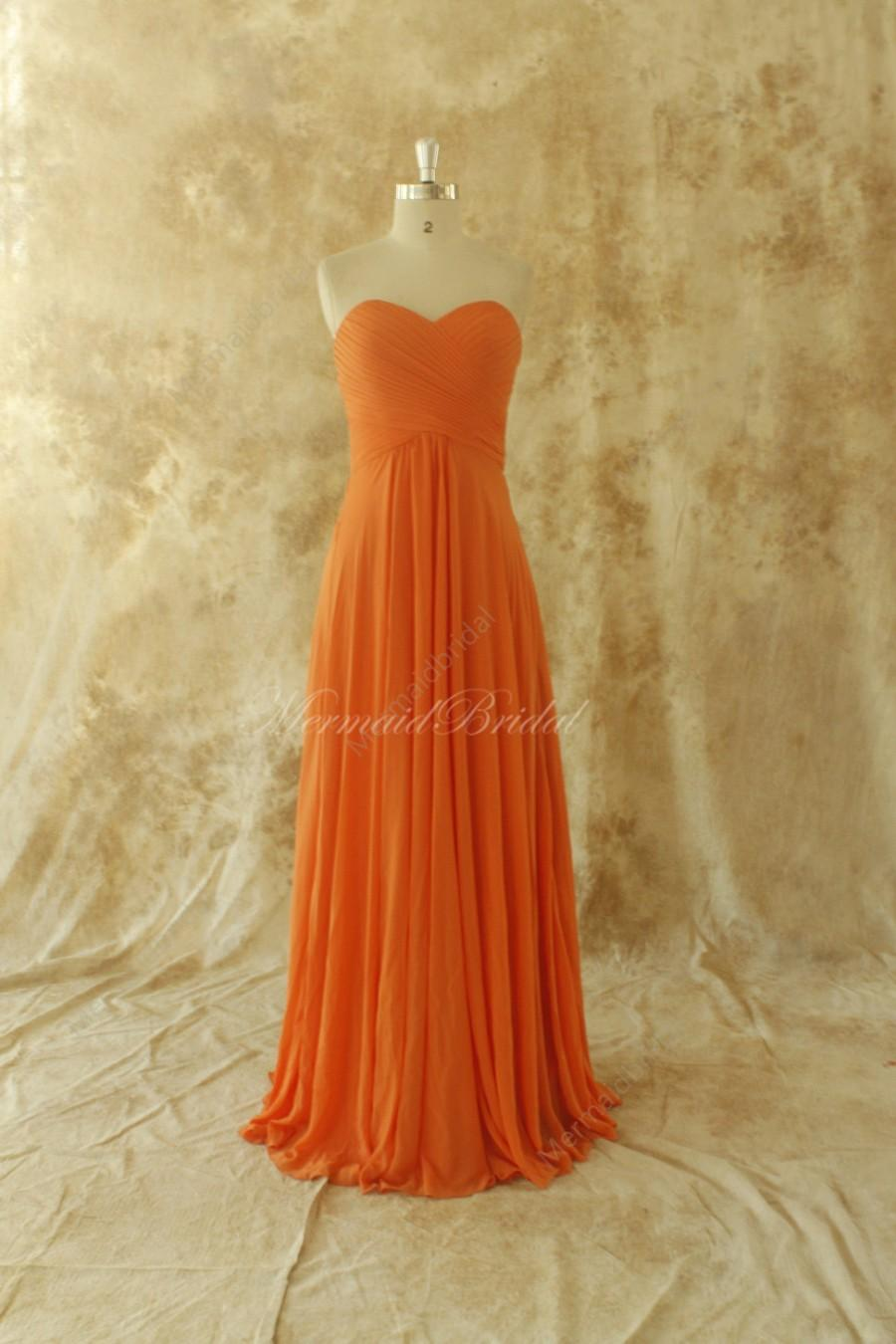 Wedding - Simple A line Salmon chiffon bridesmaid dress, prom dress