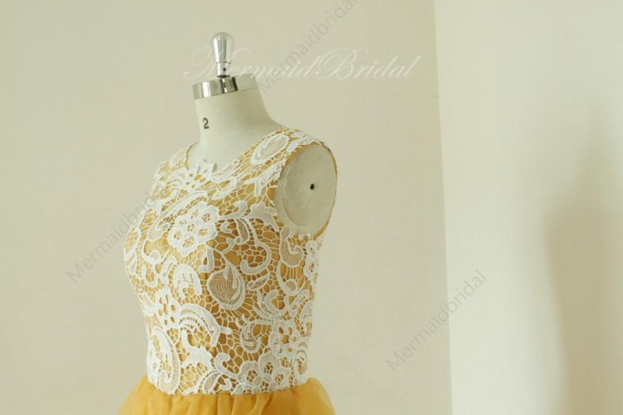 Mariage - Vintage short lace gold bridesmaid dress,bridesmaid gown, bridal party dress
