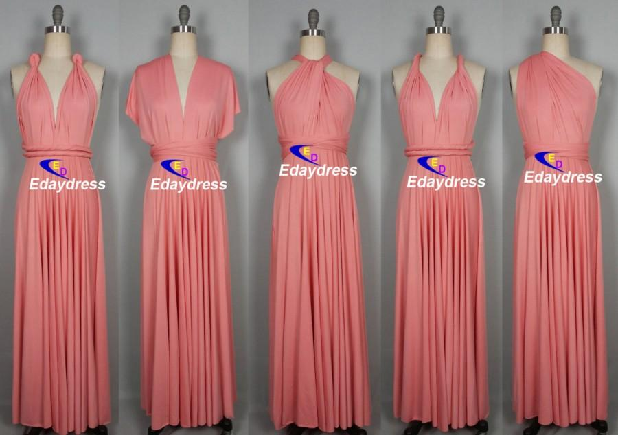 Mariage - Maxi Full Length Bridesmaid Convertible Wrap Dresses Multiway Long Blush Pink Infinity Dress