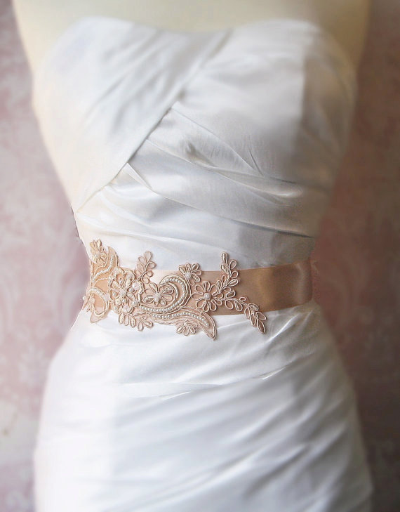 Hochzeit - Peachy Blush Lace Bridal Sash, Dusty Peach Lace Bridal Belt, Bridesmaid, Soft Blush Sash - GEORGIA