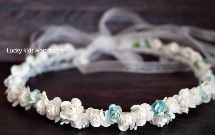 زفاف - Bridal headpiece, Wedding Flower Crown, Wedding floral Crown, Bridal headband, Wedding accesories, Something blue, Flower halo