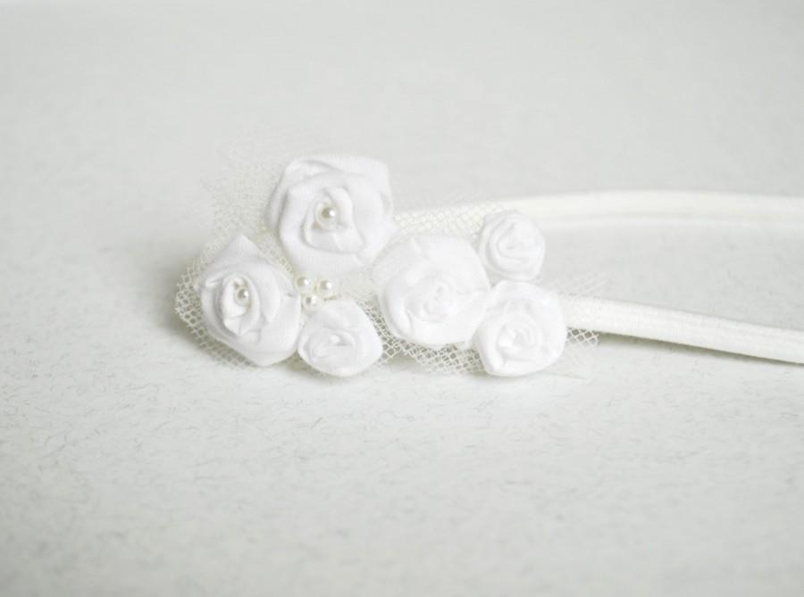 Свадьба - Rosette baby headband/ wedding/ elastic/ ceremony/ bridesmaid/ hair accessories/ flowers