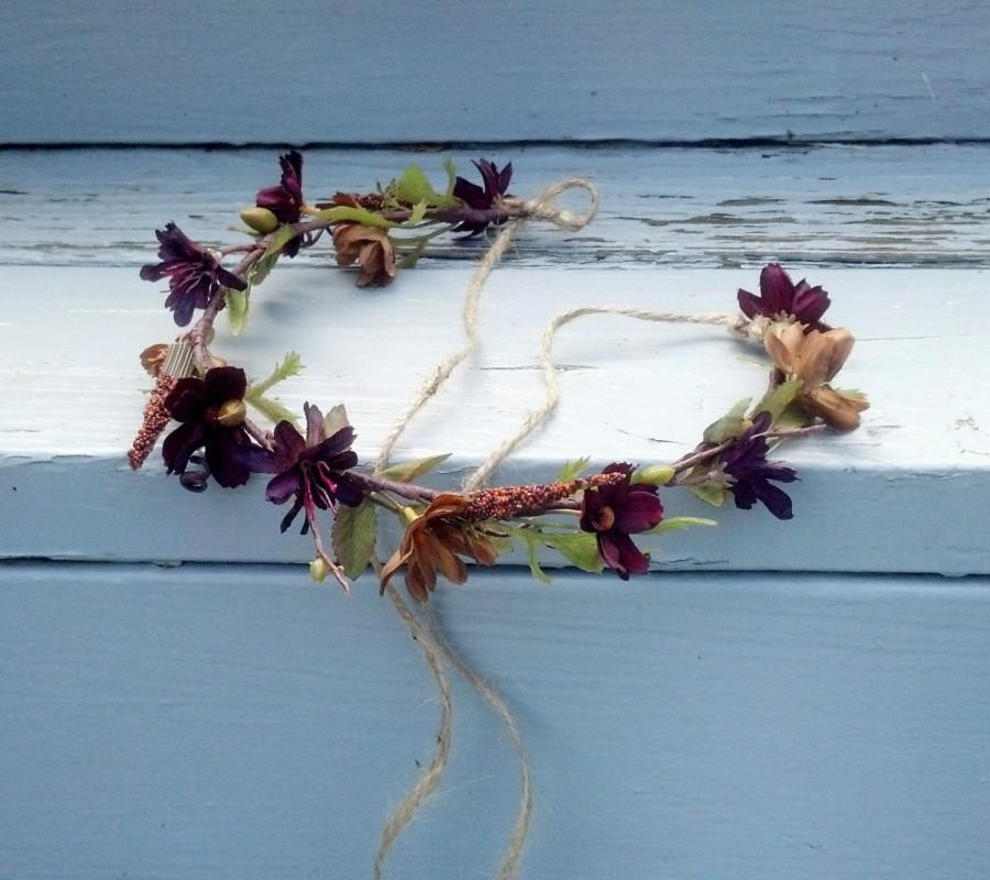 Hochzeit - Bridal flower crown Woodland Hair Wreath, earthy brown celtic Forest Fairy autumn festival hair accessory, wedding  fall garland circlet