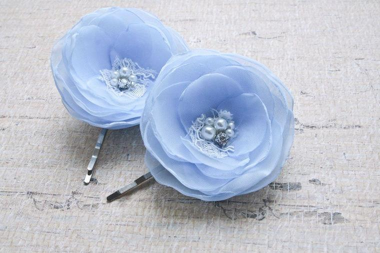 Mariage - Light Blue Hair Flowers (set of 2) Blue Hair Pins, Bridal Headpiece, Blue Bridesmaids Flowers, Flower Hair Clips, Wedding Acessories, Lace
