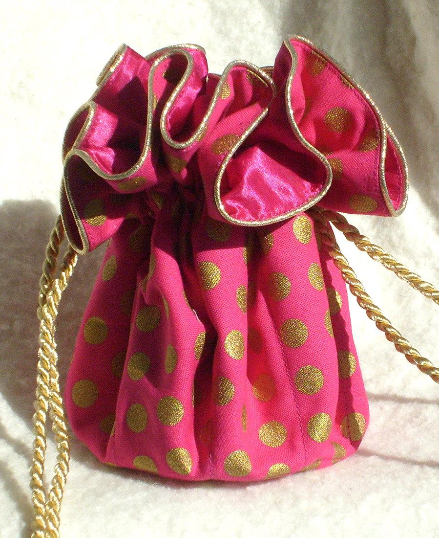 Свадьба - Jewelry Pouch, travel jewelry bag  pink and gold polka dot
