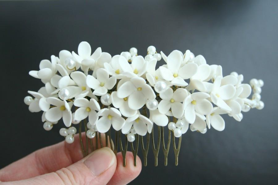 white lilac comb bridal hair comb bridal flower comb wedding