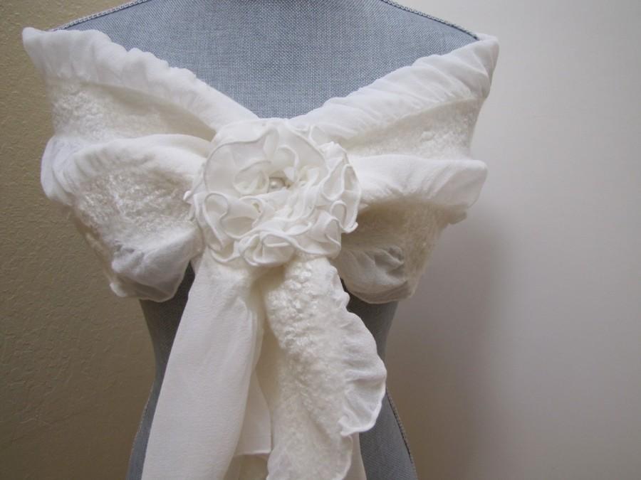 Wedding - Ivory Shawl Scarf Wrap - Wedding Scarf Cover Up - Bridal Shrug - Bridal Accessories - Weddings - Flower