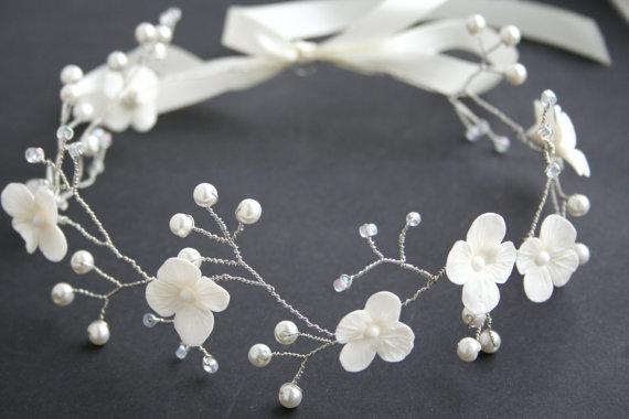 Wedding - Wedding flower crown, Bridal flower crown, Wedding crown, Bridal crown, White crown, Bridal Headpiece, Wedding tiara, Flower crown,