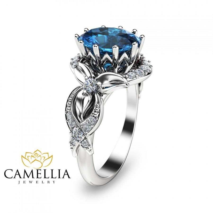 Свадьба - 14K White Gold Topaz Engagement Ring Oval Engagement Ring Blue Topaz Engagement Ring