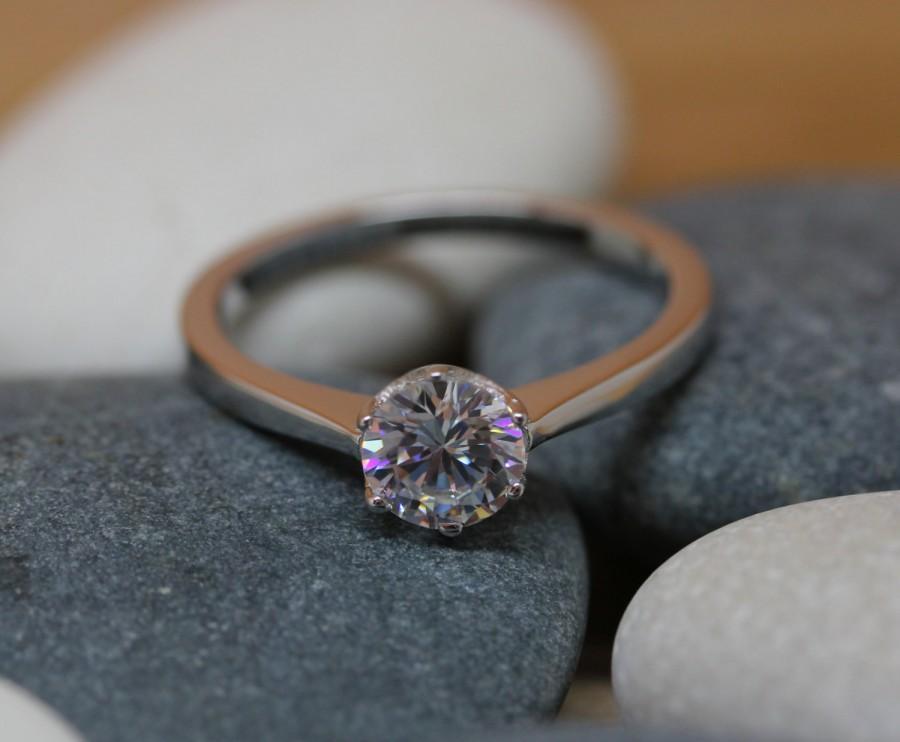 زفاف - 1ct Moissanite Solitaire ring available in white gold or sterling silver - engagement ring - wedding ring - silver ring