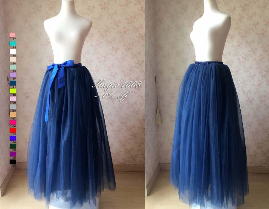 Mariage - Maxi Skirt in navy blue. Full Tulle Skirt. Women tutu skirt. Plus Size Maxi Tutu Skirt. Floor Length Tutus. Navy Wedding. Bridal Skirt(T281)