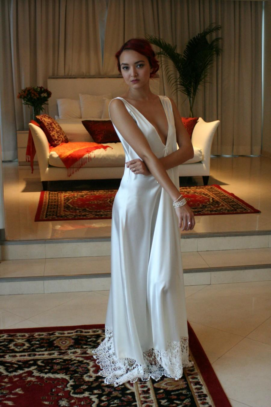 Bridal Nightgown Satin Off White Wedding Lingerie Venise Lace ...