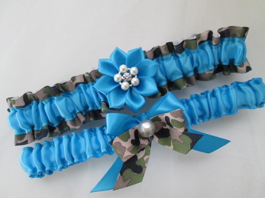 Düğün - Military CAMO Wedding Garter Set, Turquoise Bridal Garters, Teal Blue Garters, Something Blue, Army Camo, Aqua Blue Garters