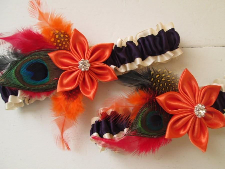 Mariage - Halloween ScareCrow Wedding Garters, Purple & Orange Garter, Peacock Feather Garter, Fall / Autumn Harvest, Rustic Barnyard Wedding