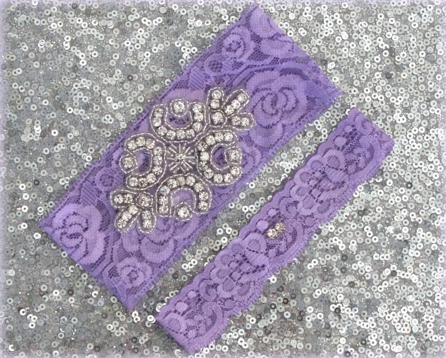 Mariage - Wedding Garter Set - LAVENDER Lace SILVER Rhinestone Crest Show & Dual Stud Toss - other colors available