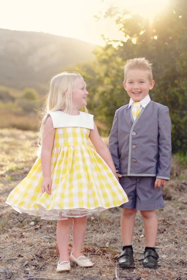 Свадьба - Yellow Gingham Cotton Dress, Custom Order Flower Girl Dress, Special Occasion Dress, Vintage Inspired Dress