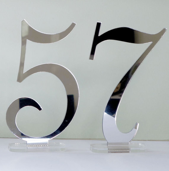 Свадьба - Silver Mirrored Table Numbers - 5.75  inches tall Acrylic Digits for Wedding Reception ROMANTIC style