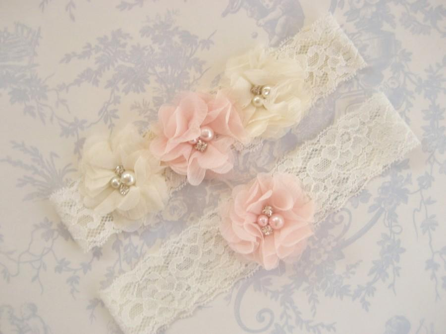 Hochzeit - Wedding Garter , Garter Set with Toss Garter in Blush and Ivory , Bridal Garter with Chiffon Blossoms pearls and rhinestones