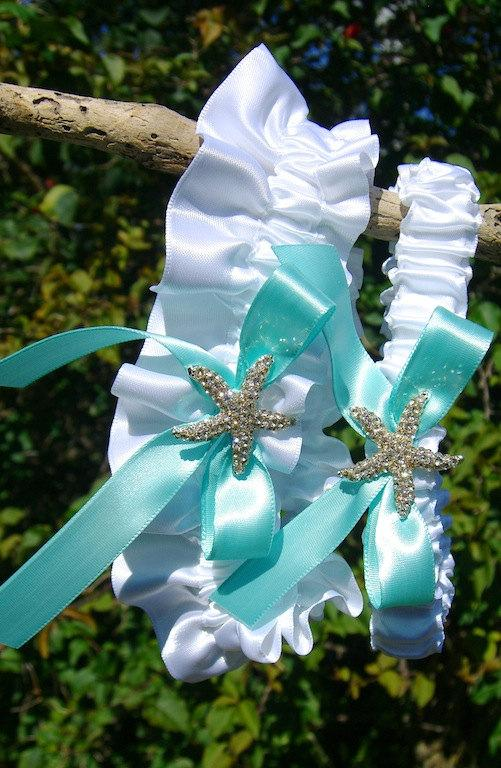 Mariage - Beach Wedding Starfish Garter Set-MINT AQUA BLUE-Beach Coastal Weddings, Destination Weddings, Mermaids, Bridal Garter, Wedding Garter