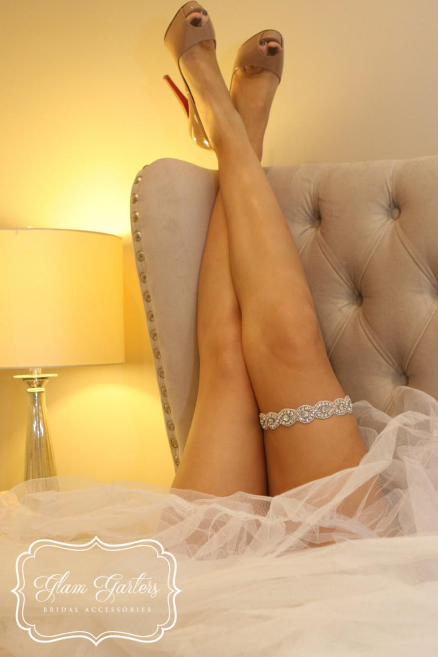 Mariage - GlamGarters Wedding Bridal Leg Garters Emily Garter Crystal Rhinestone Lace Set with Toss Garter