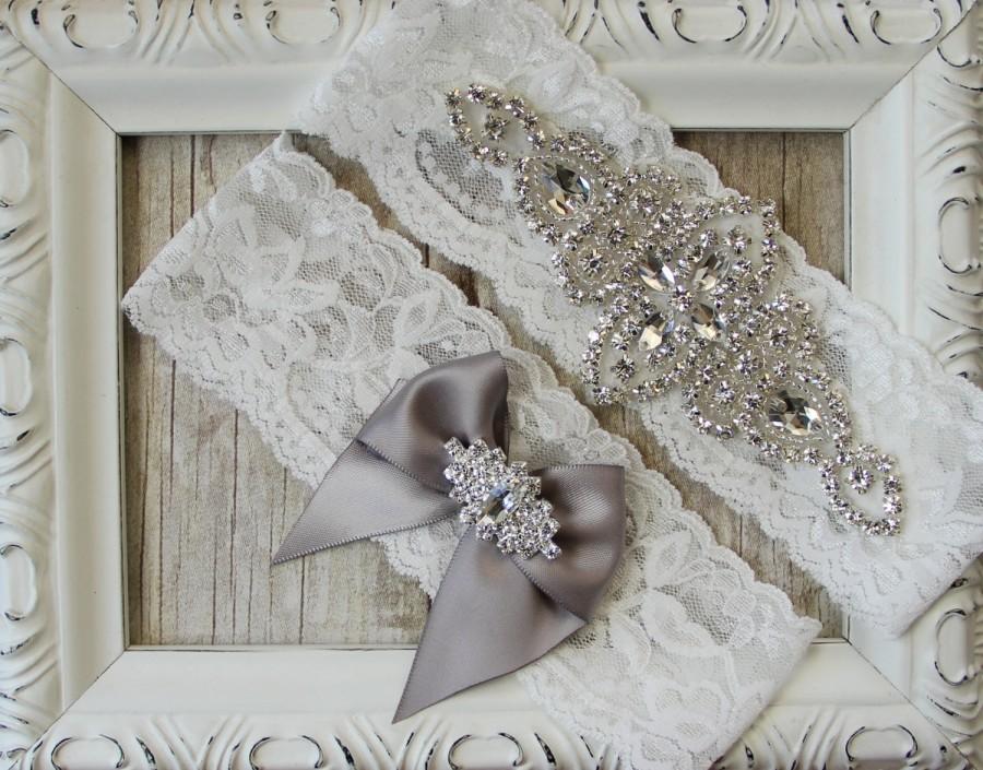 Mariage - CUSTOMIZE Your Garter - Vintage Wedding Garter Set with Crystals & Rhinestones on Comfortable Lace, Bridal Garter Set, Crystal Garter Set