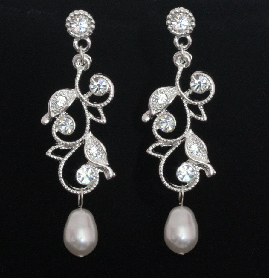 Wedding - Bridal Earrings Swarovski pearls Rhinestone Wedding  - Karen - ready to ship