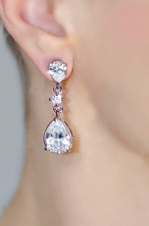 Wedding - teardrop bridal earrings, crystal bridal earrings, crystal earrings, bridesmaid earrings, wedding earrings chandelier crystal bridal jewelry