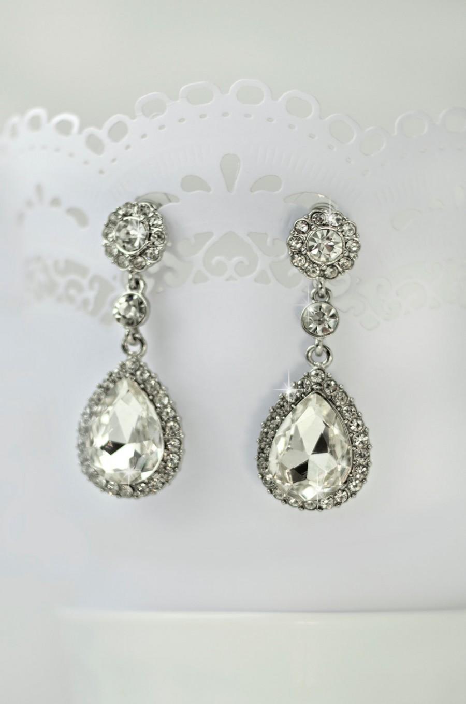 Wedding - crystal wedding earrings, wedding jewelry, teardrop bridal earrings, vintage bridal earrings, wedding chandelier earrings, bridal jewelry