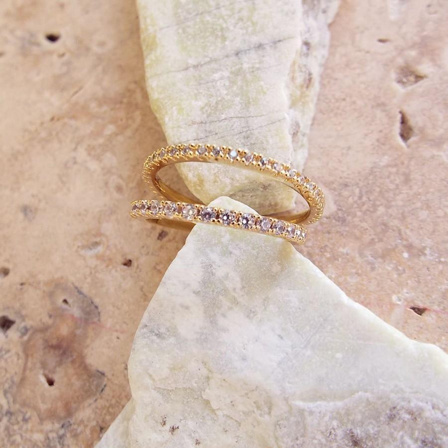 Wedding - 1 mm Gold High Quality Eternity Ring CZ Diamond Ring, Stackable Eternity Ring Full Eternity Micro Pave Ultra thin Anniversary Wedding Band