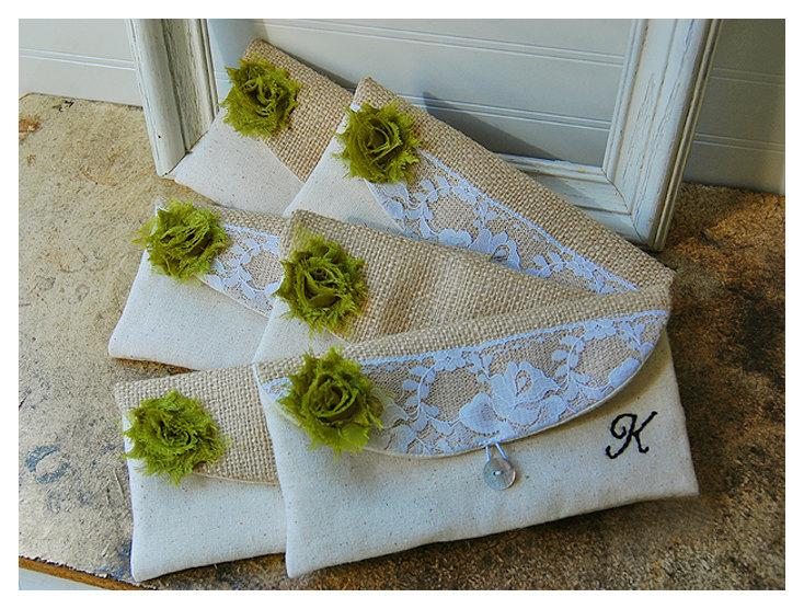 Свадьба - burlap lace bag, clutch set 3 4 5 6, rustic wedding, rose color choice, clutch purse, Personalize, Bridesmaid gift, MakeUp, raw cotton linen