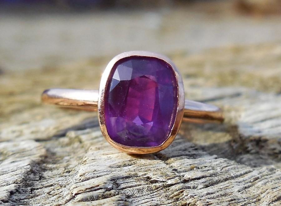 Wedding - 1.84ct Natural Purple Pink Sapphire Unique Engagement Ring Bezel Set 14k Rose Gold Handmade Alternative Custom Made Certified OOAK